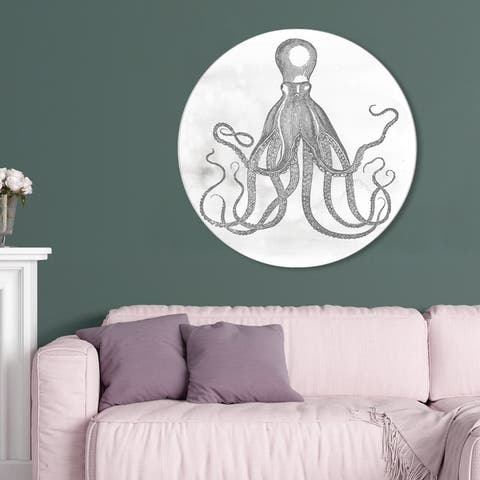 Oliver Gal 'Octopus Circle' Nautical and Coastal Round Circle Acrylic Wall Art - Gray, White