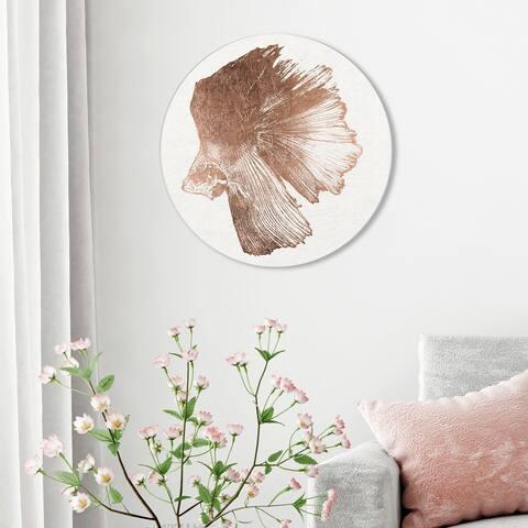 Oliver Gal 'Glazing Swim Left Copper' Nautical and Coastal Round Circle Acrylic Wall Art - Bronze, White