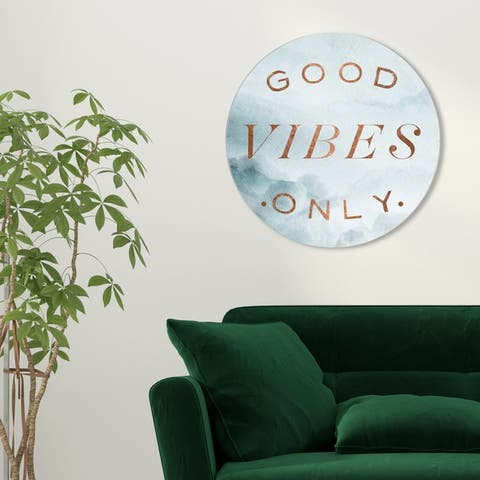 Oliver Gal 'Good Vibes Only Circle' Typography and Quotes Round Circle Acrylic Wall Art - Bronze, Gray