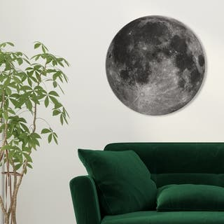 Oliver Gal 'Moon I' Astronomy and Space Round Circle Acrylic Wall Art - Gray