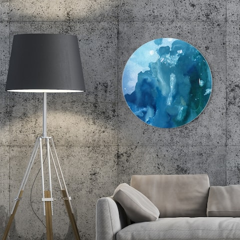 Oliver Gal 'Flowing Circle' Abstract Round Circle Acrylic Wall Art - Blue, White