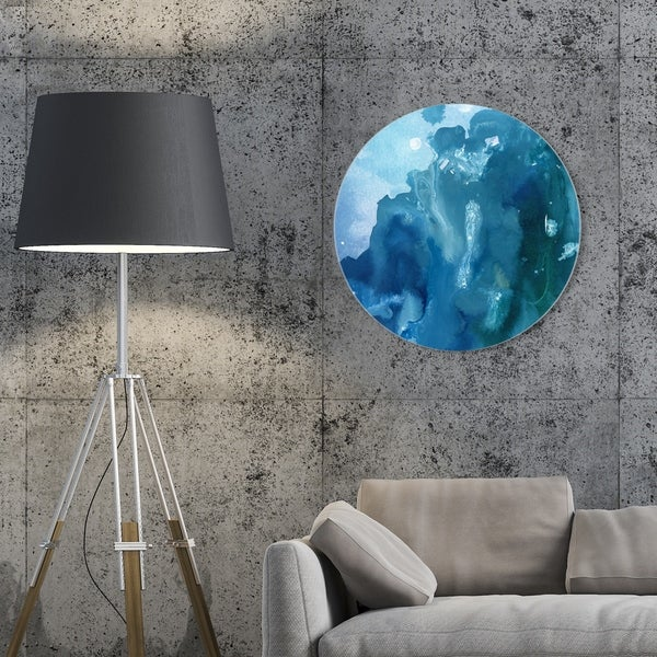 Oliver Gal 'Flowing Circle' Abstract Round Circle Acrylic Wall Art - Blue, White. Opens flyout.