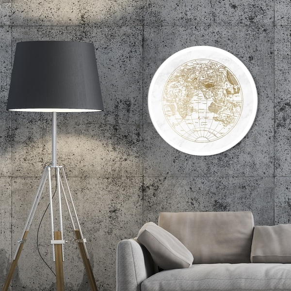 Oliver Gal 'World Hemispheres II' Maps and Flags Round Circle Acrylic Wall Art - Gold, White. Opens flyout.