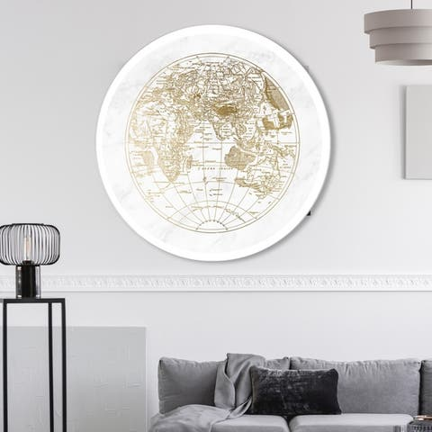 Oliver Gal 'World Hemispheres II' Maps and Flags Round Circle Acrylic Wall Art - Gold, White