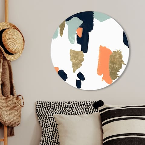 Oliver Gal 'Tres Colores Circle' Abstract Round Circle Acrylic Wall Art - Gold, Orange