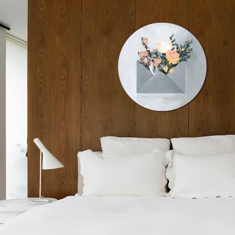 Oliver Gal 'Sending More Love Circle' Floral and Botanical Round Circle Acrylic Wall Art - Gray, Orange