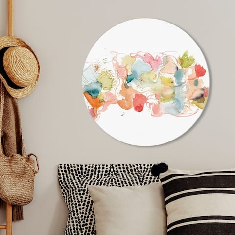 Oliver Gal 'My Wild Garden Full Circle' Abstract Round Circle Acrylic Wall Art - Orange, Blue