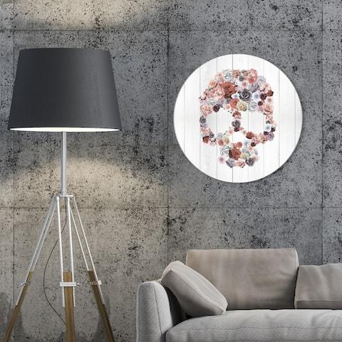 Oliver Gal 'Desert Roses Circle' Floral and Botanical Round Circle Acrylic Wall Art - Pink, Gray