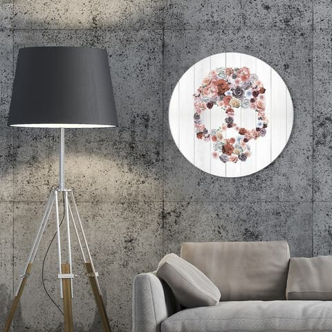 Oliver Gal 'Desert Roses Circle' Floral and Botanical Round Circle Acrylic Wall Art - Pink, Gray