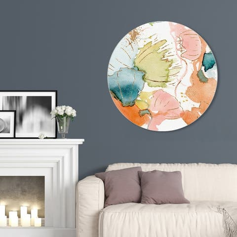 Oliver Gal 'My Wild Garden Circle' Abstract Round Circle Acrylic Wall Art - Green, Blue