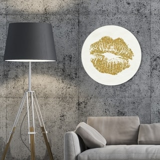 Oliver Gal 'Simple Kiss Circle' Fashion and Glam Round Circle Acrylic Wall Art - Gold, White