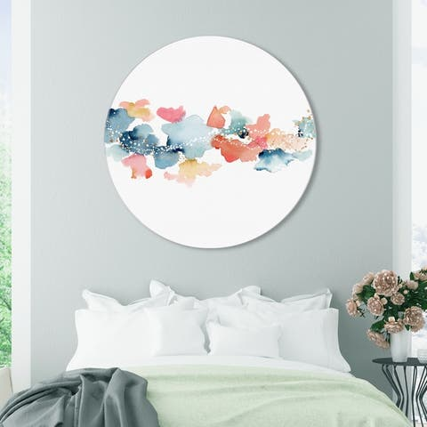 Oliver Gal 'Beautiful Sky Circle' Abstract Round Circle Acrylic Wall Art - Blue, Orange