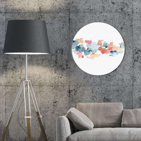 Oliver Gal 'Beautiful Sky Circle' Abstract Round Circle Acrylic Wall Art - Blue, Orange
