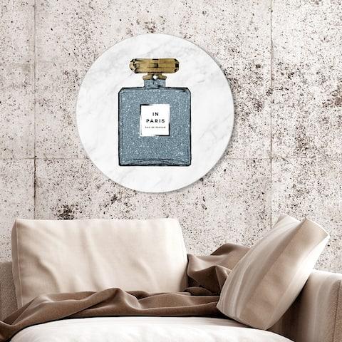Oliver Gal 'Paris Blue Perfume Marble Circle' Fashion and Glam Round Circle Acrylic Wall Art - Blue, Gold