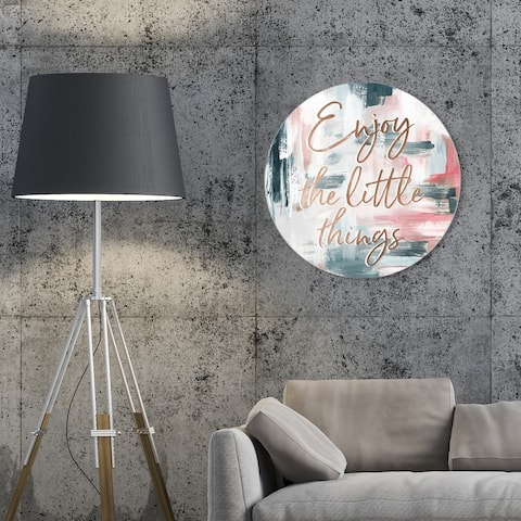 Oliver Gal 'Enjoy The Little Things Paint' Typography and Quotes Round Circle Acrylic Wall Art - Bronze, Pink