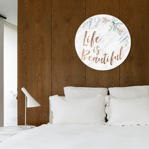 Oliver Gal 'Life Is Beautiful Floral' Typography and Quotes Round Circle Acrylic Wall Art - Bronze, Green