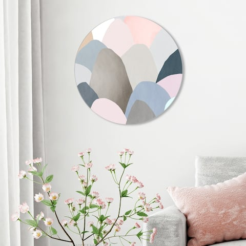 Oliver Gal 'Minimal Mountains Circle' Abstract Round Circle Acrylic Wall Art - Pink, Brown