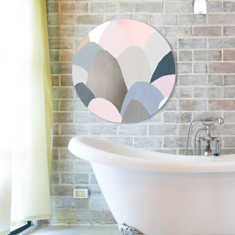 Oliver Gal 'Minimal Mountains Circle' Abstract Round Circle Acrylic Wall Art - Pink, Brown