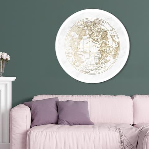 Oliver Gal 'World Hemispheres I' Maps and Flags Round Circle Acrylic Wall Art - Gold, White