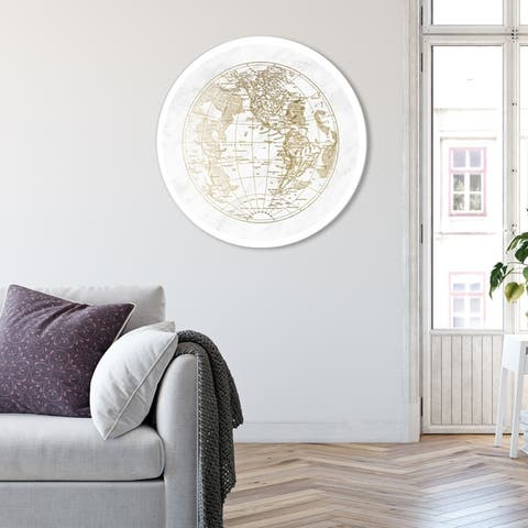 Oliver Gal 'World Hemispheres I' Maps and Flags Round Circle Acrylic Wall Art - Gold, White
