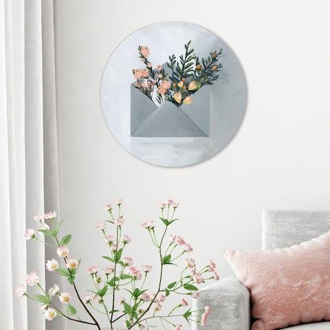 Oliver Gal 'Sending Some Love Circle' Floral and Botanical Round Circle Acrylic Wall Art - Gray, Orange