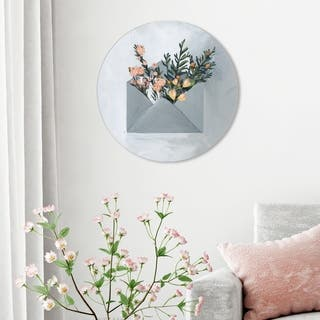 Oliver Gal 'Sending Some Love Circle' Floral and Botanical Round Circle Acrylic Wall Art - Gray, Orange