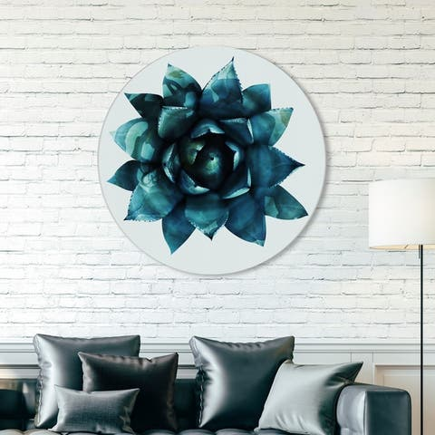 Oliver Gal 'Suculent Circle' Floral and Botanical Round Circle Acrylic Wall Art - Green, White