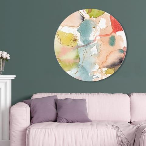 Oliver Gal 'My Wild Garden Circle II' Abstract Round Circle Acrylic Wall Art - Orange, Blue