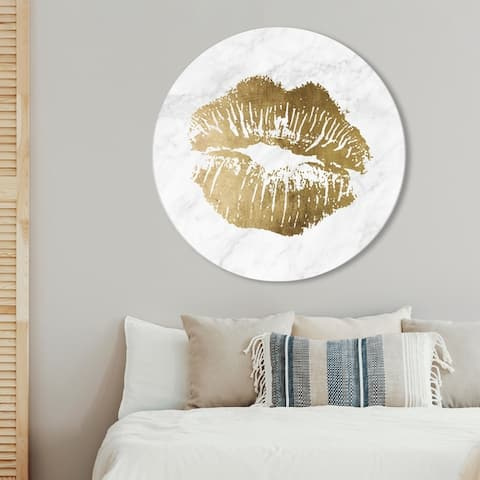 Oliver Gal 'Simple Kiss Marble Circle' Fashion and Glam Round Circle Acrylic Wall Art - Gold, White