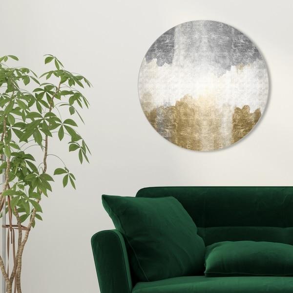 Oliver Gal 'Amantes Circle' Abstract Round Circle Acrylic Wall Art - Gold, Gray. Opens flyout.
