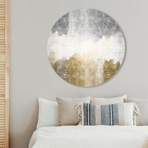 Oliver Gal 'Amantes Circle' Abstract Round Circle Acrylic Wall Art - Gold, Gray