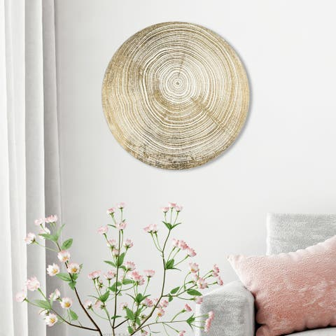 Oliver Gal 'Legno II' Abstract Round Circle Acrylic Wall Art - Gold, White