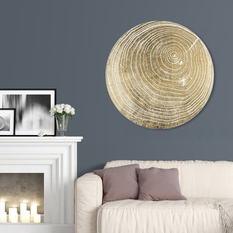 Oliver Gal 'Legno I' Abstract Round Circle Acrylic Wall Art - Gold, White