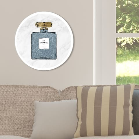 Oliver Gal 'Blue Glitter Number 5 Circle' Fashion and Glam Round Circle Acrylic Wall Art - Blue, White