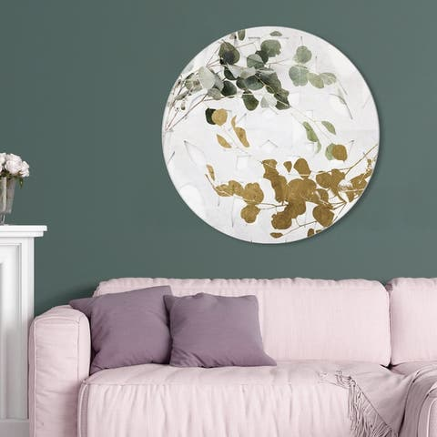 Oliver Gal 'Golden Leaves Circle' Floral and Botanical Round Circle Acrylic Wall Art - Gold, Green