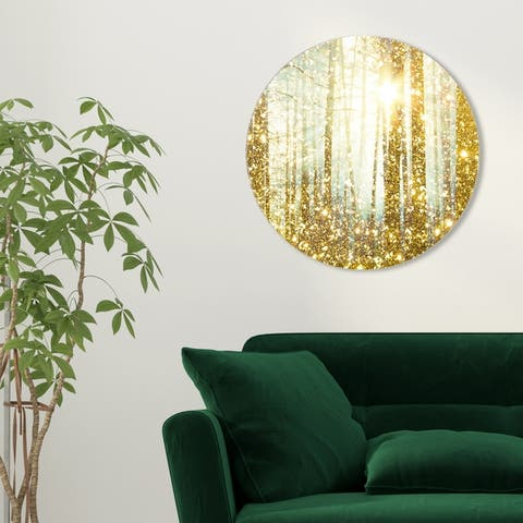 Oliver Gal 'Magical Forest Round' Nature and Landscape Round Circle Acrylic Wall Art - Gold, Yellow