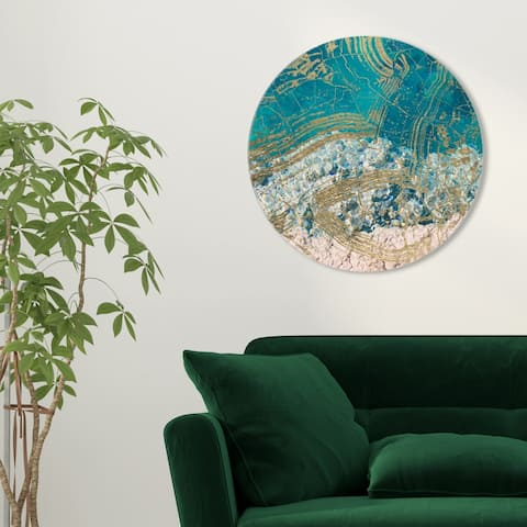 Oliver Gal 'Salt Water Round' Nautical and Coastal Round Circle Acrylic Wall Art - Blue, Brown