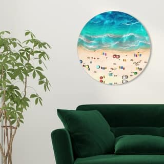 Oliver Gal 'A Day at the Beach Round' Nautical and Coastal Round Circle Acrylic Wall Art - Blue, Yellow