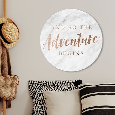 Oliver Gal 'The Adventure Begins Copper' Typography and Quotes Round Circle Acrylic Wall Art - Bronze, Gray