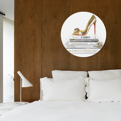 Oliver Gal 'Gold Shoe and Red Fashion Round' Fashion and Glam Round Circle Acrylic Wall Art - Gold, White