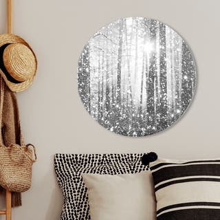 Oliver Gal 'Magical Forest silver Round' Nature and Landscape Round Circle Acrylic Wall Art - Gray, White