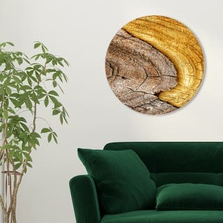 Oliver Gal '22759 Wood Log Yellow Round' Floral and Botanical Round Circle Acrylic Wall Art - Brown, Yellow