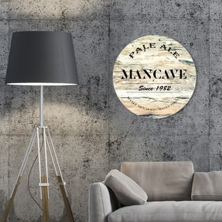 Oliver Gal 'Pale Ale Round' Drinks and Spirits Round Circle Acrylic Wall Art - Brown, Black