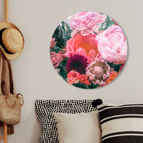 Oliver Gal 'Floralia Round' Floral and Botanical Round Circle Acrylic Wall Art - Red, Pink