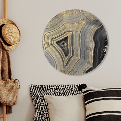 Oliver Gal 'Dubbio Geode Round' Abstract Round Circle Acrylic Wall Art - Gold, Black