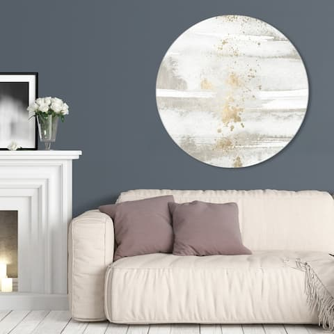 Oliver Gal 'Sun and Rain Circle' Abstract Round Circle Acrylic Wall Art - White, Gold