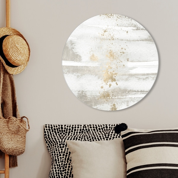 Oliver Gal 'Sun and Rain Circle' Abstract Round Circle Acrylic Wall Art - White, Gold. Opens flyout.