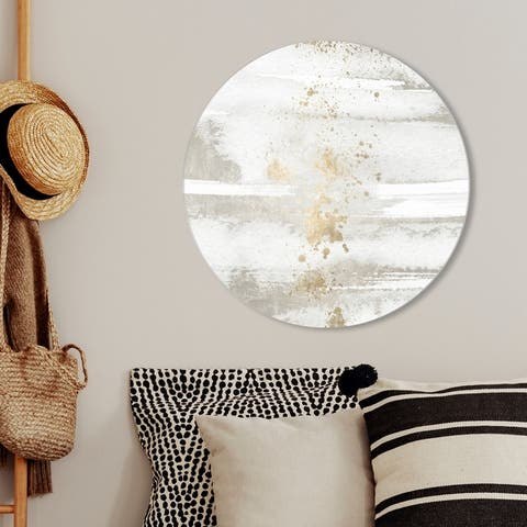 Oliver Gal 'Sun and Rain Circle' Abstract Round Circle Acrylic Wall Art - White, Gold