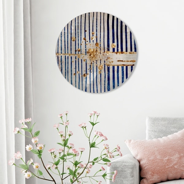 Oliver Gal 'Love Forcefield Round' Abstract Round Circle Acrylic Wall Art - Gold, Blue. Opens flyout.