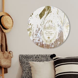 Oliver Gal 'Champagne Showers Round' Drinks and Spirits Round Circle Acrylic Wall Art - Gold, White